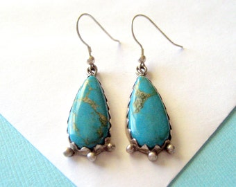 Navajo LOVE NOTES Turquoise and Sterling Teardrop Earrings
