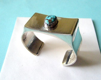 Navajo Sterling and Turquoise Asymmetrical Cuff by Edward King