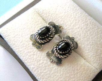 Navajo Sterling and Onyx Bowtie Earrings