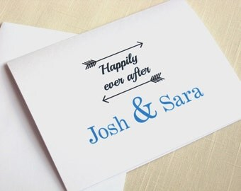 Wedding Thank Yous - Happily Ever After - Wedding Shower Notes - Personalized - Choose Your Color