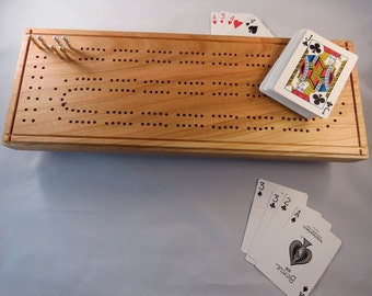 Cribbage Board - Cherry-  Made in Maine- Hand Made- including authentic metal pegs A
