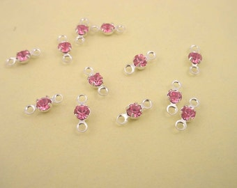 12 glass pink rhinestone 11ss  3mm silver connectors