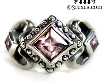 Princess Love Silver Ring Gothic Engagement Band Pink CZ Size 5