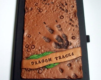 SUMMER SALE Super SALE! Art Journal Notebook Dragon Tracks/Dinosaur Polymer Clay