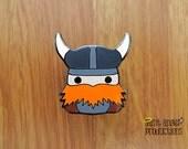 Viking Enamel Pin, based on Magnus, my Orange Beard Viking Plushie, READY TO SHIP!