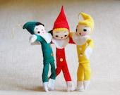 Vintage Elf Lot 1960s Christmas Japan Small Figures Ornaments Stockinette Pose Dolls