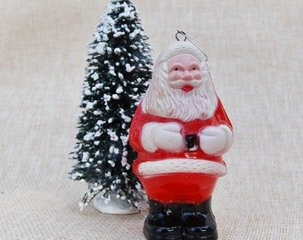 Vintage Hard Plastic Santa Ornament Light Cover Christmas 1950s Xmas USA