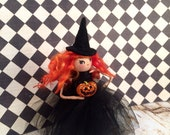 Reserved for KM                            witch ornament black and orange ooak art doll party decor witch doll vintage retro inspired toni