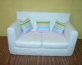 18 Inch  Doll  Couch - Sofa -  White - Handmade Doll  Furniture