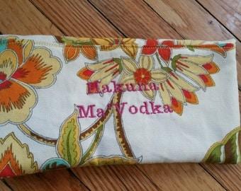Tropical Hakuna Ma'Vodka Clutch Purse MakeUp Bag Wallet
