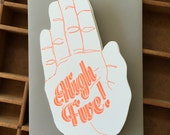 High five letterpress NEON card