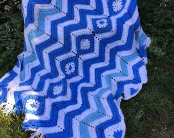 Vintage Hand Crochet Blue and White Afghan or Lap Throw with Fringe