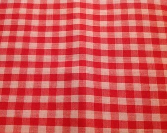 2 Yards of Vintage Red and White Gingham Check Cotton Fabric