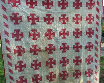 Vintage Machine Quilted Red and Creamy White Four T Square Pattern Thinner Quilt