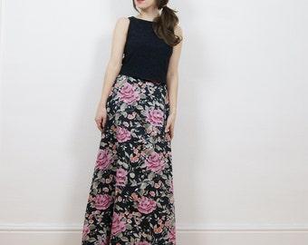 Boho maxi skirt, Floral print skirt, 90s grunge skirt, Satin floral skirt, High waisted skirt, hippie skirt, maxi skirt.