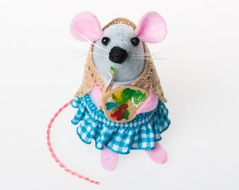 Artist Painter Mouse Ornament Artisan Felt Mice rat hamster cute adorable gift for painter gift for artist - Heather the Artist Mouse