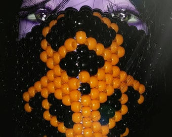 Black Kandi Mask, Orange Biohazard Surgical Mask, Plur Rave Mask, Black and Orange