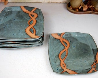 Square Dinner Plate in Slate Blue with Rust Chain- Made to Order