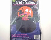 Vintage 1970s Cute Witch Black Cat Mouse Cauldron Die Cut Cardboard Halloween Decoration or Centerpiece with Honeycomb by Beistle