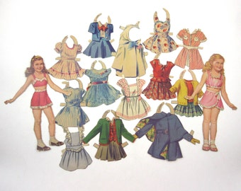 Vintage 1940s or 1950s Paper Dolls 2 Cute Little Girls and Their Outfits