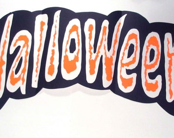 Vintage Large Halloween Store Decoration or Sign with Neon Orange Writing