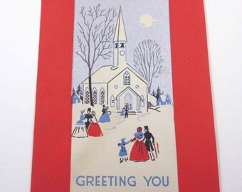 Vintage Art Deco Christmas Card People Going to Church in Country Silvered Snow