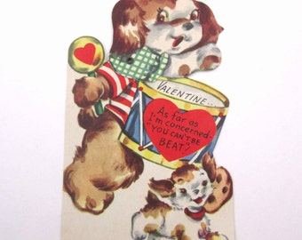 Vintage 1950s Children's Mechanical Novelty Valentine Greeting Card with Dog Playing Drum and Puppy