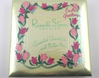 Vintage Russell Stover Cardboard Easter Candy Box with Tulips Shrink Wrap Display Box
