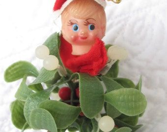 Little pixie sitting on a kissing ball Vintage Christmas Decoration Knee Hugger