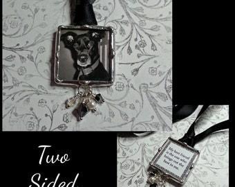 Pet Memorial Photo Charm, Bridal Bouquet Charm, Wedding Charm, Soldered Glass Pendant, Custom, Personalized Jewelry, Dog Charm