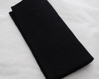 "100% Wool Felt Fabric - Approx 3mm - 5mm Thick - 30cm / 12"" Square Sheet - Black"