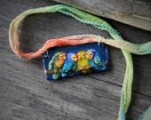 Beautiful Love birds - fused glass pendant - Bird jewelry