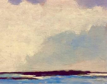 MINI 1648, 0il painting original landscape, miniature art, 100% charity donation, oil painting on cardboard