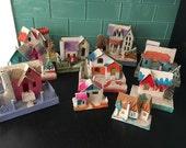 Set of 11 Vintage Christmas Houses Putz Miniature Village from Japan