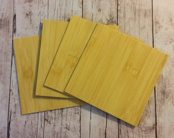 4 Inch by 4 Inch Light Bamboo Coaster Tile Blanks- Set of 8- The front is ready to add paper, fabric or paint-The back is a finished surface