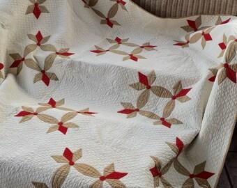 Antique Heirloom Quilt Tulip 1800's Appliqued Hand Quilted
