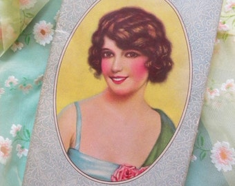 Vintage Candy Box with Flapper Beauty Portrait on Lid and Love Letter Inside 1930