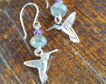 Sterling Silver HUMMINGBIRD Earrings -  Labradorite and Amethyst - Cowgirl Jewelry - Bird lover - Nature Jewelry by Heart of a Cowgirl