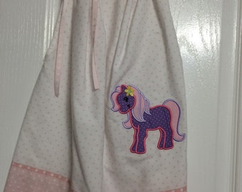 Pony Appliqued Toddler Girls Pillowcase Birthday Dress