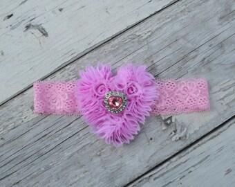You Pick Color, Fuchsia Hot Pale Pink Lace Headband, Crystal Rhinestone Lace headband, Girls headband Heart Valentines Day