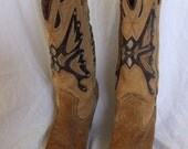 Women's MISS CAPEZIO Vintage Butterfly Western Wedding Cowboy Boots Size 6.5