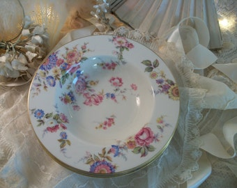 3 vintage floral rimmed soup bowls, shabby cottage chic pink roses, peonies, summer flowers, sunnybrooke by castleton usa, tea party table