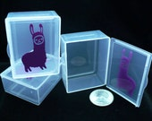 Box, container, Llama Mascot, stitchmarker container, purple llama, small container, notions holder, notions box, small box, vinyl decal