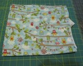 Sale Fabric Sale - 3/4 Yard - Blue Owl and Bunting - Quilting Cotton Destash