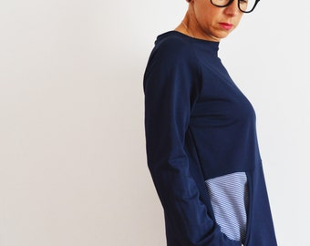 Tunic sweatshirt in cotton for women, long sweatshirts,tunic dress, organic cotton clothing,eco friendly,dress , sweatshirt dress