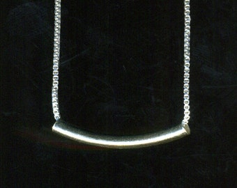 Sterling Silver minimalist small Curved Tube Necklaces on silver box chain