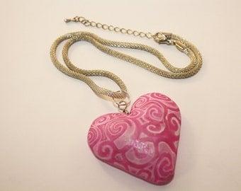 Pink Polymer Heart Pendant
