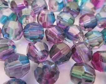 Vintage Glass Beads (12) German Rainbow Beads