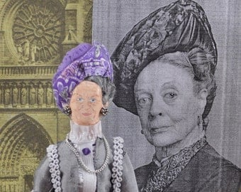Maggie Smith British Actress Miniature Art Doll Celebrity Art Handmade by Uneek Doll Designs