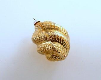 Vintage Christmas Glass Ornament Gold Jewel Mid Century
